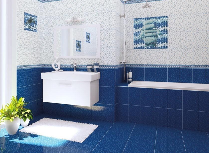 Керамическая плитка на полу у ванной комнате